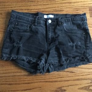 JUSTA USA Hi Rise Black Distressed Shorts